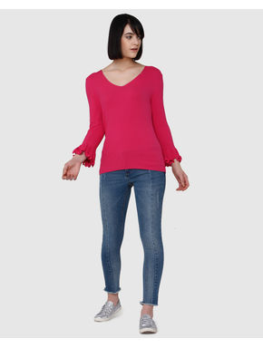 Pink Flared Sleeves Knit Top