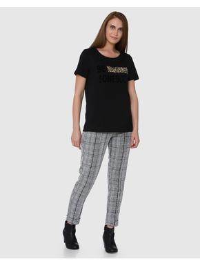 Black Graphic/Text Print Short Sleeves T-shirt