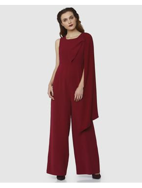 Red Draped Jumpsuit