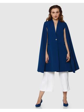 Blue Cape Long Sleeves Blazer