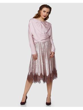 Pink Pleated Net Midi Skirt