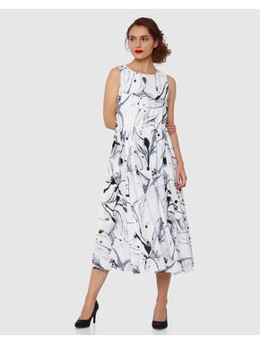 White Marble Print Textured Pleated Midi Dress