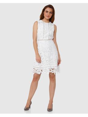 White Lace with Eyelet Detail Mini Dress