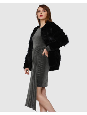 Black Shimmer Long Sleeves Bodycon Dress