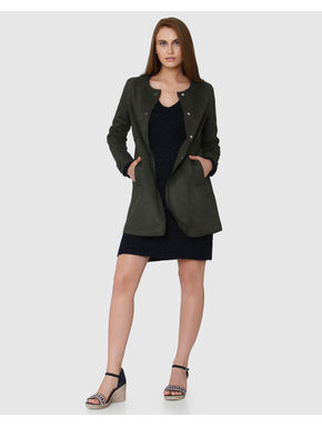 Grey Knee Length Long Sleeves Coat