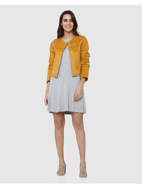 Orange Collarless Short Long Sleeves Jacket