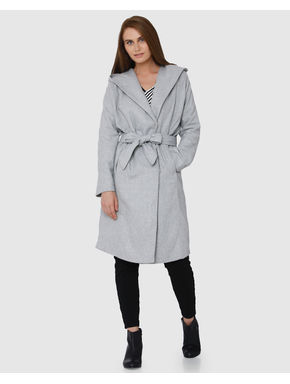 Grey Front Tie Wide Collar Midi Hooded Coat