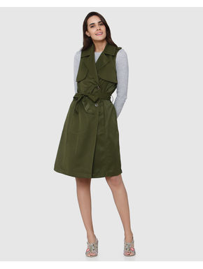 Green Peak Lapel Collar Front Tie Sleeveless Coat