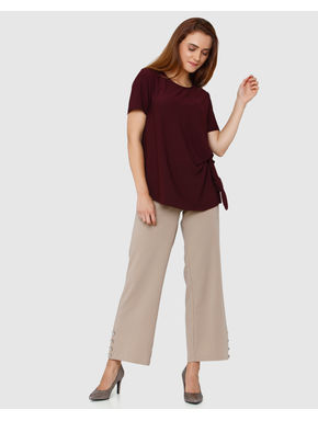 Burgundy Front Knot Short Sleeves Top