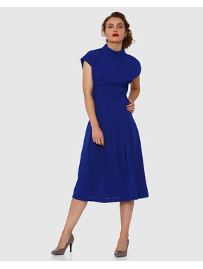 Blue Back Cut Out Detail Midi Dress