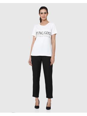 White Feeling Good Text Print Fringe Short Sleeves T-shirt