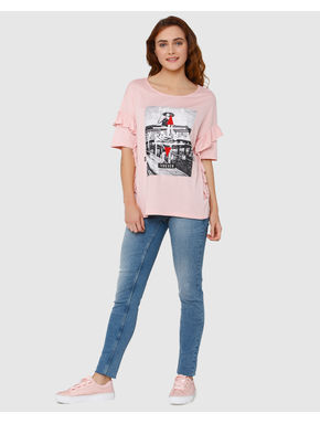 Pink Graphic Print & Ruffle Sleeves T-Shirt