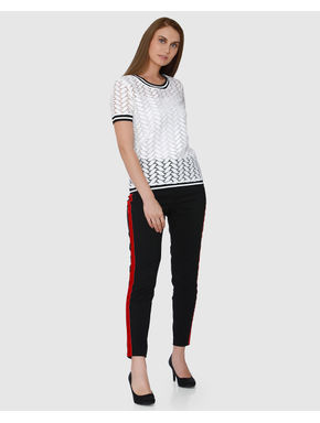 White Leaf Lace Pattern Ribbed Neck and Cuff Top
