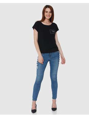 Black Front Pocket Text Print T-shirt