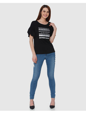 Black Shimmer Text and Graphic Patch T-shirt