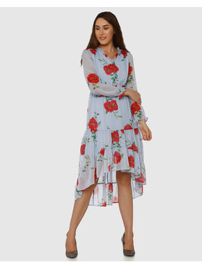 Blue Floral Print High Low Midi Dress