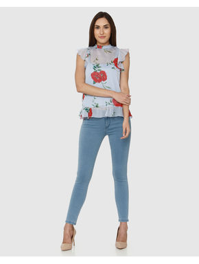 Blue All Over Floral Print Frill Sleeves Top