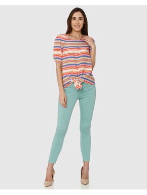 Beige Striped Front Knot Detail Top