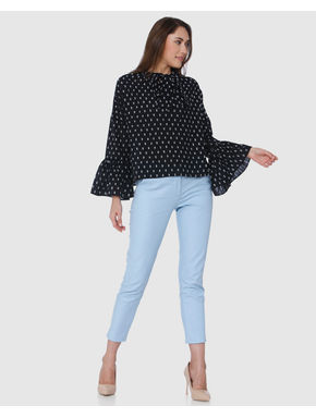 Black Printed Flared Sleeves Top