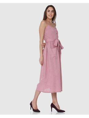Pink Spaghetti Strap Midi Dress
