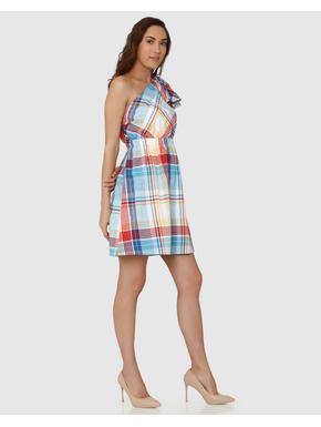 White Colour Blocked Checks One Shoulder Bow Detail Fit & Flare Dress