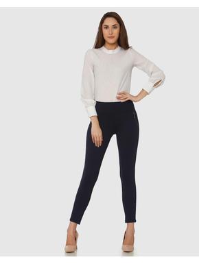 Navy Blue Mid Rise Zip Detail Ankle Length Skinny Fit Leggings
