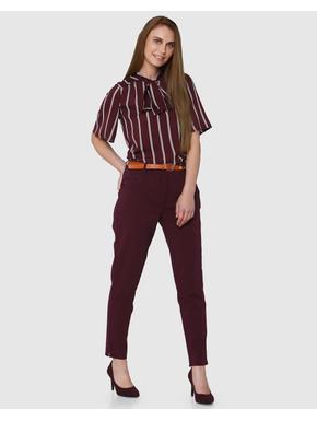 Maroon Stripes Front Tie Top