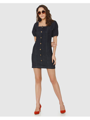 Dark Blue Denim Bodycon Dress