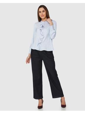 Blue Ruffle Detail Cuff Sleeves Shirt