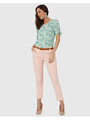 Green Tropical Print Tie-Up Sleeves Top