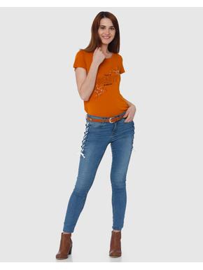 Orange Text and Graphic Print T-shirt