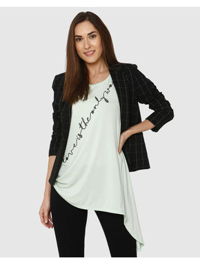 Lavender Text Embellished Print Asymmetric T-shirt