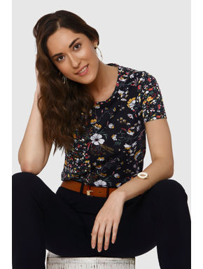 Navy Blue All Over Floral Print T-shirt
