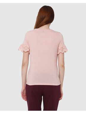Peach Cut Work Sleeves T-Shirt