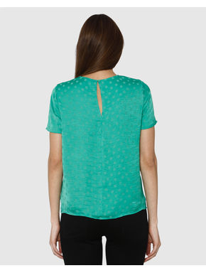 Green Polka Dot Print Top