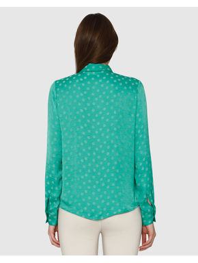 Green Polka Dot Print Shirt