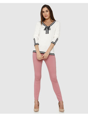 White Black and White Striped Bow Tie Detail Top