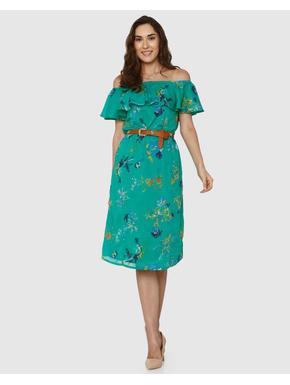 Green All Over Floral Print Off Shoulder Midi Dress