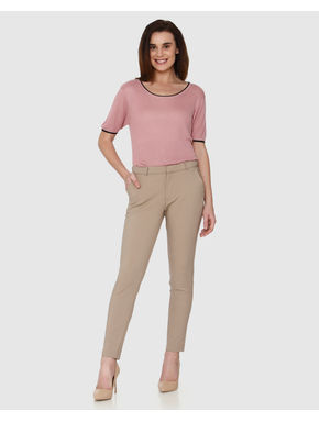 Brown Mid Rise Ankle Length Straight Fit Trouser Pants