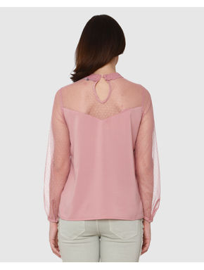 Pink Cut Work Embroidery Sheer Lace Top