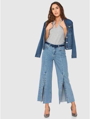 Blue High Rise Wide Leg Comfort Fit Jeans