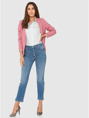 Blue High Rise Button Down Closure Ankle Length Anti Fit Jeans