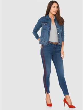 Blue Mid Rise Side Red Tape Detail Side Slit Skinny Fit Jeans