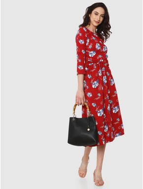 Red All Over Floral Print Midi Fit & Flare Dress