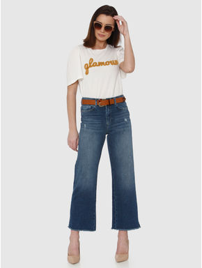 Blue Mid Rise Ankle Length Flared Comfort Fit Jeans