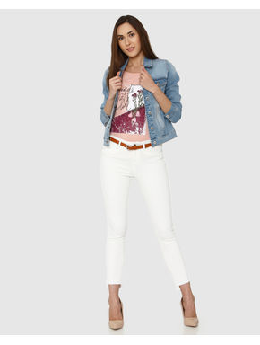 White Mid Rise Raw Edge Detail Ankle Length Skinny Fit Jeans