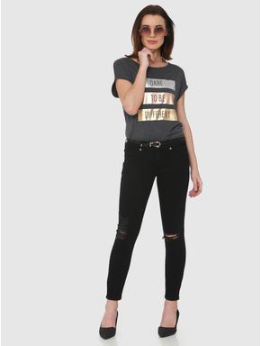 Grey Metallic Foil Text Print T-shirt