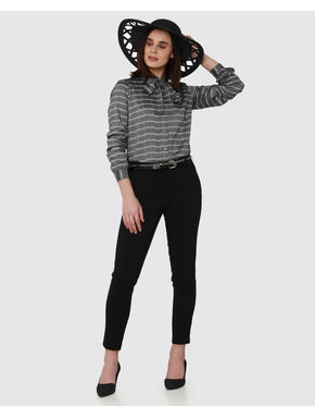 Grey Striped Front Bow Cuff Sleeves Shirt