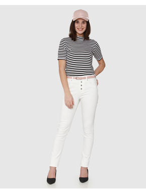 White and Black Striped High Neck T-shirt