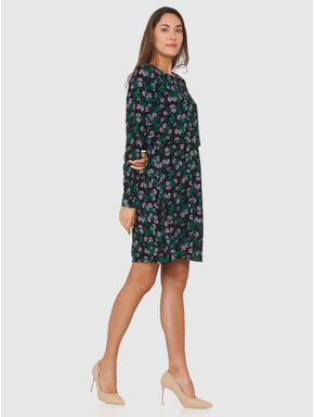 Black All Over Floral Print Shift Dress